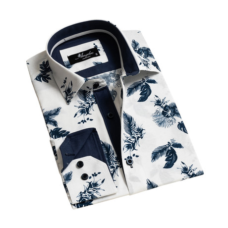 Floral Reversible Cuff Long-Sleeve Button-Down Shirt // White + Navy Blue (XS)