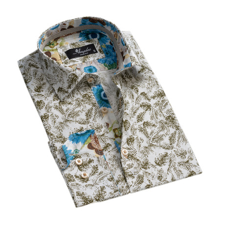 Colorful Reversible Cuff Long-Sleeve Button-Down Shirt // Multicolor + White + Green (XS)