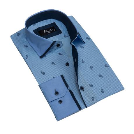Paisley Reversible Cuff Long-Sleeve Button-Down Shirt // Light Blue (XS)