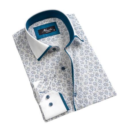 Paisley Reversible Cuff Long-Sleeve Button-Down Shirt I // White + Blue (XS)