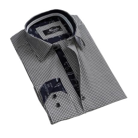 Checkered Reversible Cuff Button-Down Shirt // Black + White (XS)
