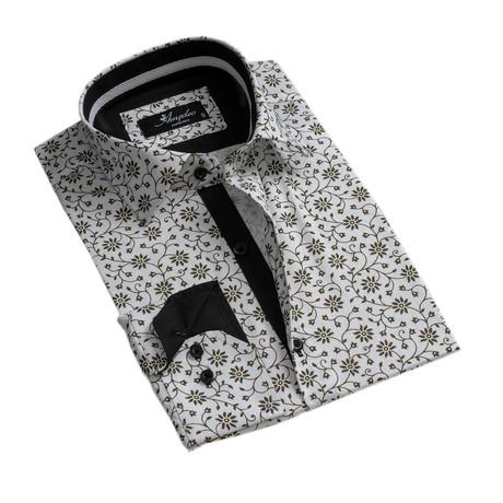 Floral Reversible Cuff Button-Down Shirt // White + Green (XS)