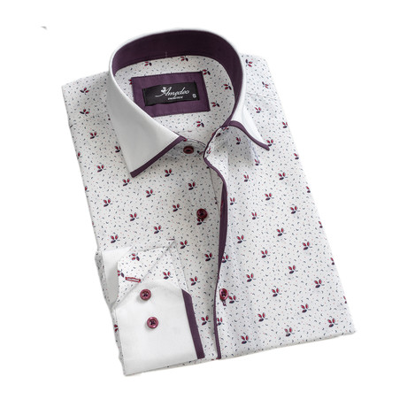 Reversible Cuff Long-Sleeve Button-Down Shirt // White + Purple (XS)