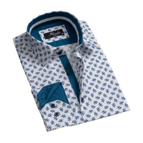 Floral Reversible Cuff Button-Down Shirt II // White + Blue (XS)