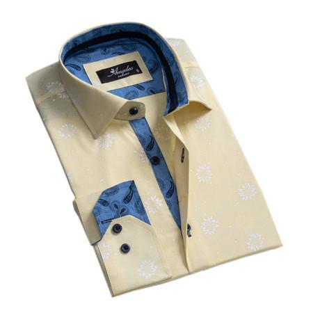Floral Reversible Cuff Button-Down Shirt // Light Yellow (XS)
