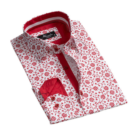 Floral Reversible Cuff Button-Down Shirt I // White + Red (XS)