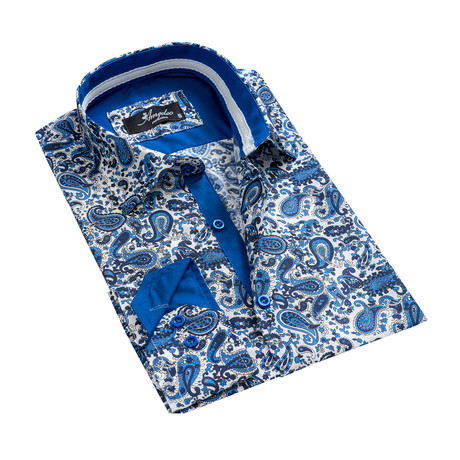 Paisley Reversible Cuff Long-Sleeve Button-Down Shirt II // White + Blue (XS)
