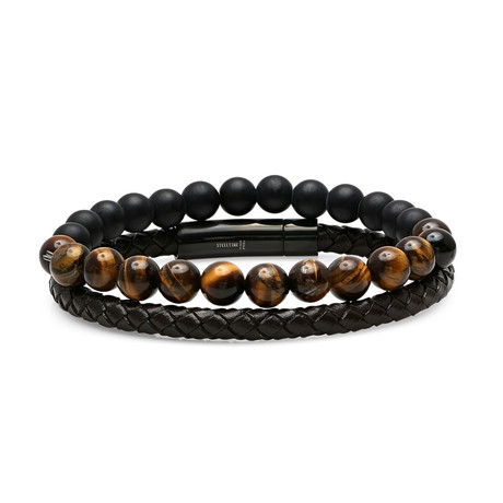 Braided Leather + Lava + Tiger Eye Beaded Bracelet // Set of 2 // Brown + Black