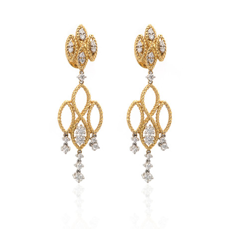 Roberto Coin 18k Two-Tone Gold Diamond Barocco Earrings II // Store Display