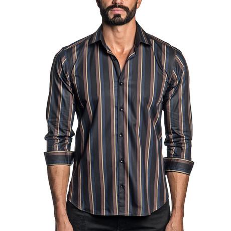 Long Sleeve Button-Up Shirt // Black + Navy Stripe (S)