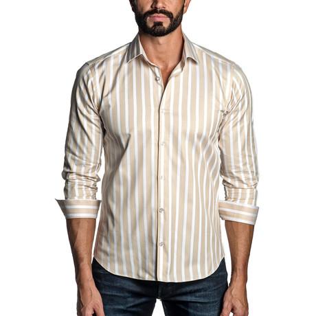 Long Sleeve Button-Up Shirt // Tan + White Stripe (S)