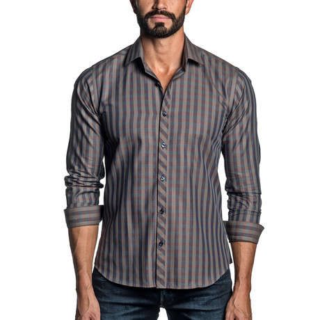 Long Sleeve Button-Up Shirt // Brown Check (S)