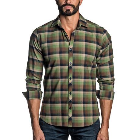 Long Sleeve Button-Up Shirt // Green + Navy Plaid (S)