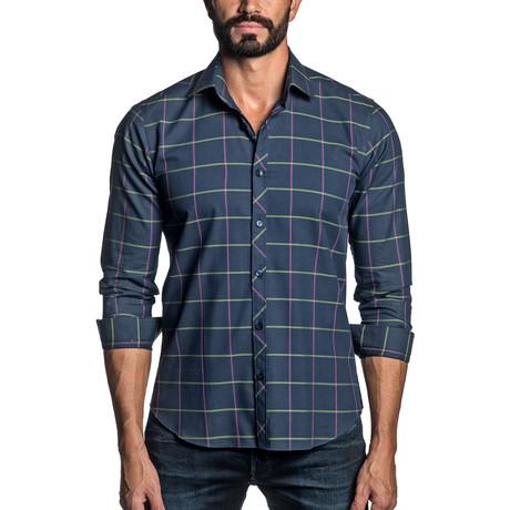 Long Sleeve Button-Up Shirt // Navy Plaid (S)