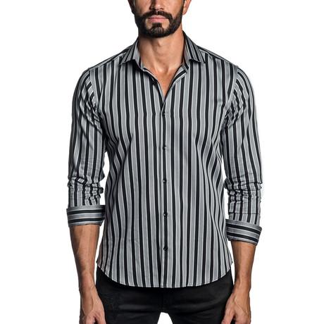 Long Sleeve Button-Up Shirt // Gray + Black Stripe (S)