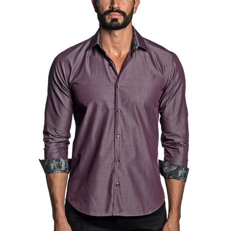 Long Sleeve Button-Up Shirt // Burgundy (S)