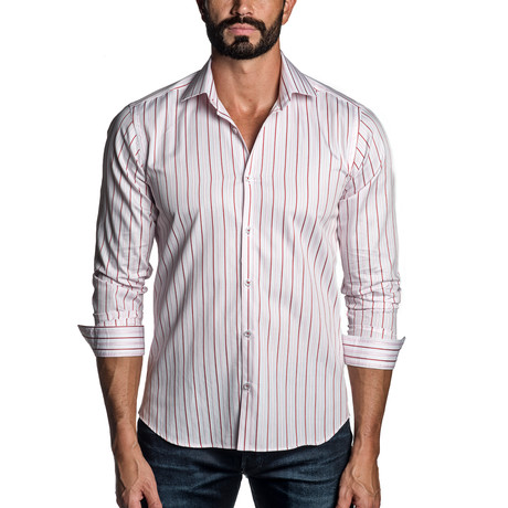 Long Sleeve Button-Up Shirt // White + Pink Stripe (S)