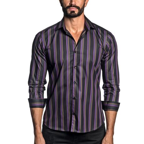 Long Sleeve Button-Up Shirt // Black + Purple Stripe (S)
