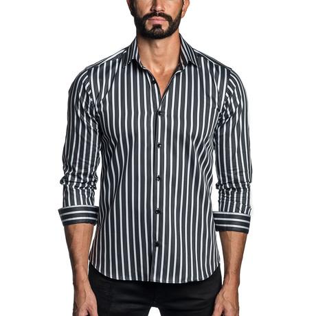 Long Sleeve Button-Up Shirt // White + Black Stripe (S)