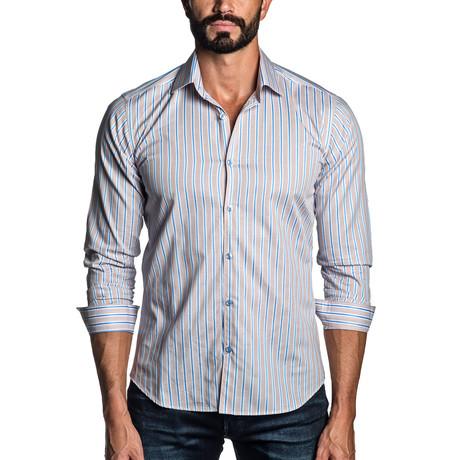 Long Sleeve Button-Up Shirt // Tan Stripe (S)