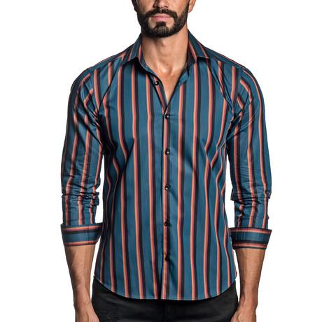 Long Sleeve Button-Up Shirt // Teal Stripe (S)