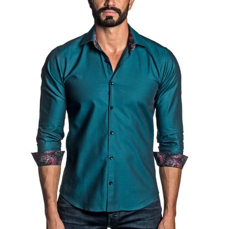 Long Sleeve Button-Up Shirt // Green + Teal Jacquard (S)