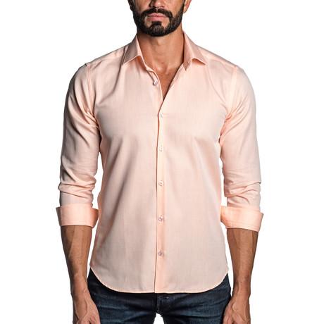 Long Sleeve Button-Up Shirt // Orange Jacquard (S)
