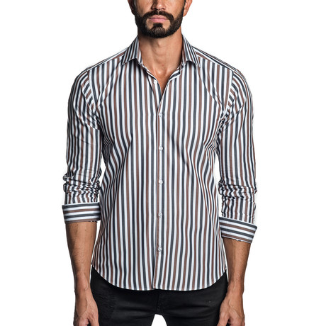Long Sleeve Button-Up Shirt // White + Brown Stripe (S)