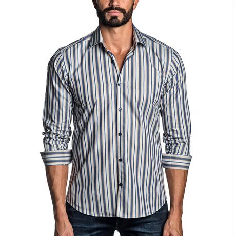 Long Sleeve Button-Up Shirt // Blue Stripe (S)
