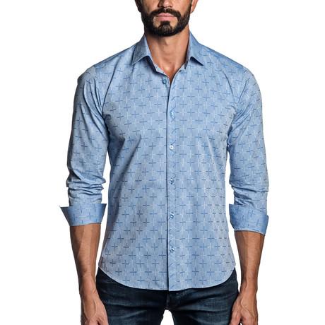 Long Sleeve Button-Up Shirt // Oxford Blue Jacquard (S)