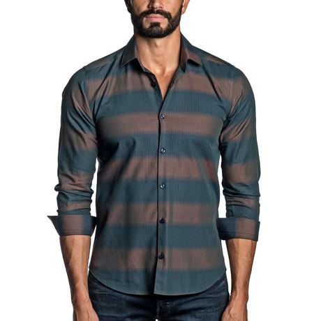 Long Sleeve Button-Up Shirt // Brown Stripe (S)