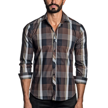 Long Sleeve Button-Up Shirt // Brown Plaid (S)