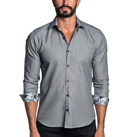 Long Sleeve Button-Up Shirt // Light Gray Jacquard (S)