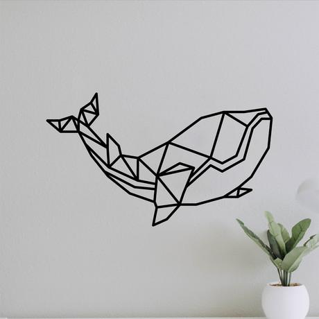 "Geometric Whale (16""W x 27.2""H x 0.25""D)"