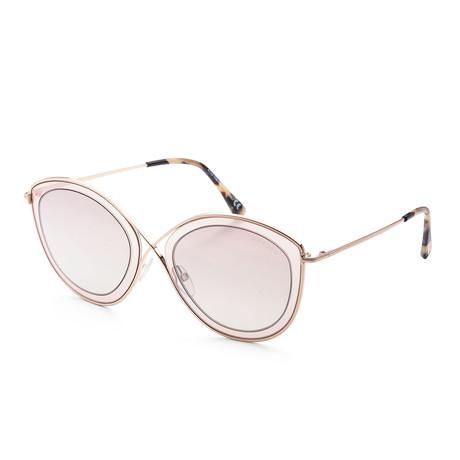 Women's FT0604-47G-55 Sascha Sunglasses // Light Brown + Brown Mirror