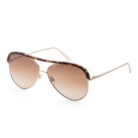 Unisex FT0606-28G-60 Sabine Sunglasses // Shiny Rose Gold + Brown Mirror
