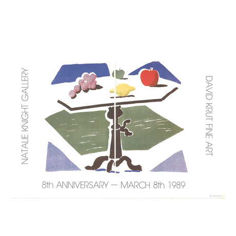 David Hockney // // Apple, Grapes, Lemon on a Table // 1989 Offset Lithograph