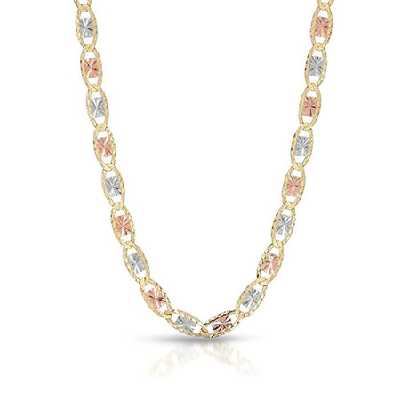 Solid 14K Gold Diamond Cut Celestial Chain Necklace // 4mm // Yellow + White + Rose