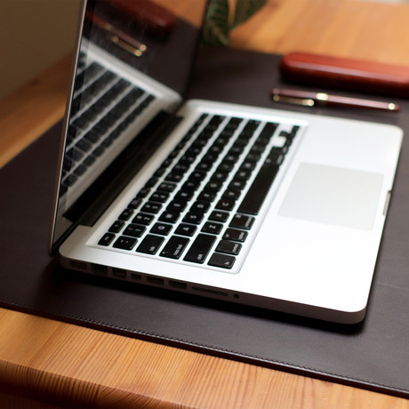 Leather Laptop Mat // Dark Brown