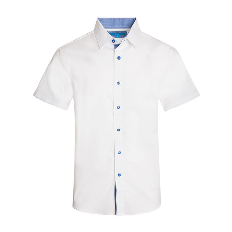 Cotton-Stretch Short Sleeve Solid Shirt // White (S)