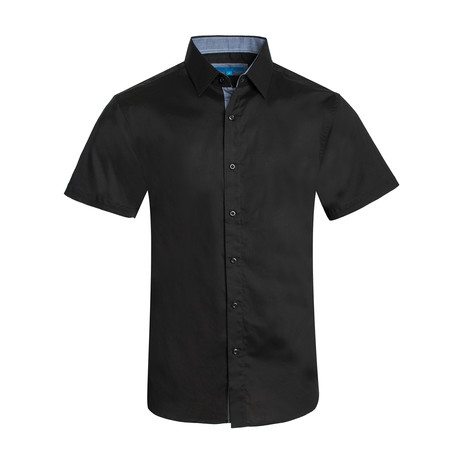 Cotton-Stretch Short Sleeve Solid Shirt // Black (S)