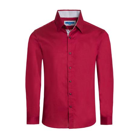 Cotton-Stretch Long Sleeve Shirt // Burgundy (S)