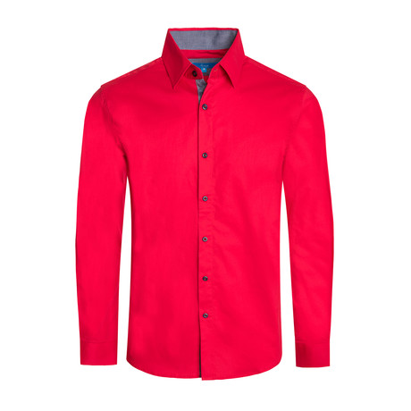 Cotton-Stretch Long Sleeve Shirt // Red (S)