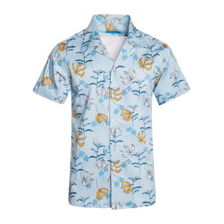 Cielo Flor Cotton Short Sleeve Shirt // Blue (S)