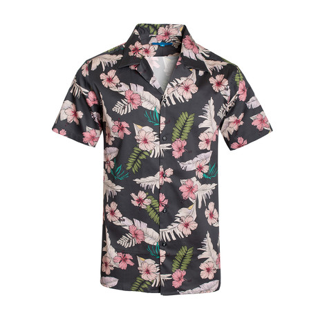 Pink Hibiscus Cotton Short Sleeve Shirt // Gray (S)