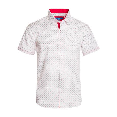 Paisley Cotton Short Sleeve Shirt // White (S)