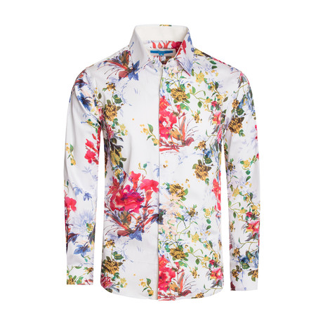 Naples Floral Long Sleeve Shirt // White (S)