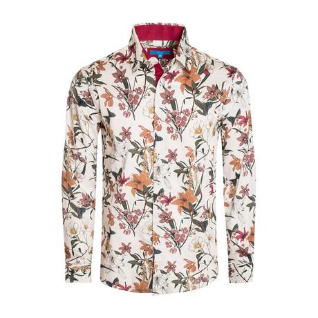 Sorrento Floral Long Sleeve Shirt // White (S)