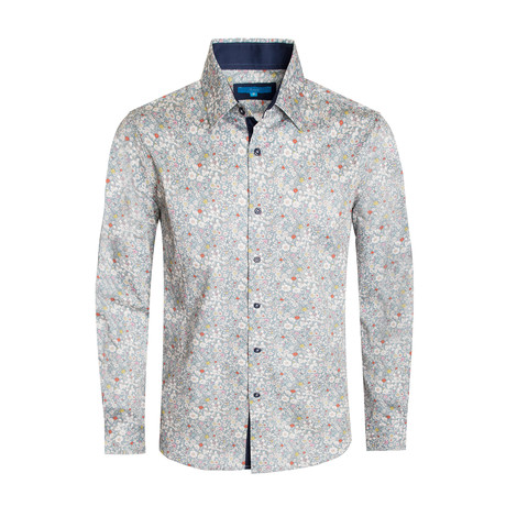 Lucca Floral Long Sleeve Shirt // Gray (S)