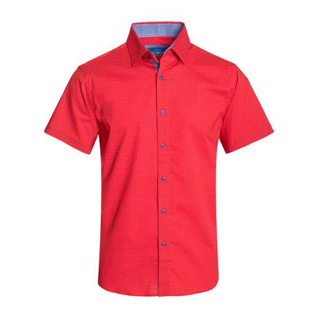 Geometric Pattern Cotton Short Sleeve Shirt // Red (S)